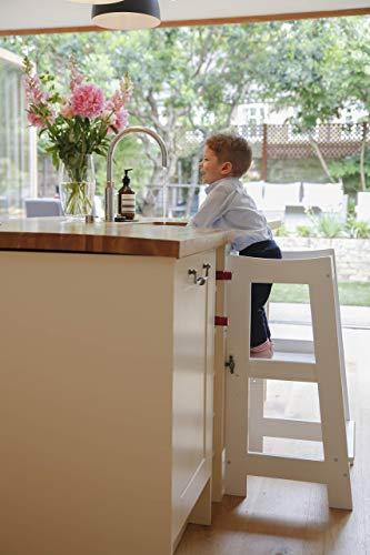 Montessori Learning Tower - Scalino per bambini con altezza regolabile e binario di sicurezza (legno massello)