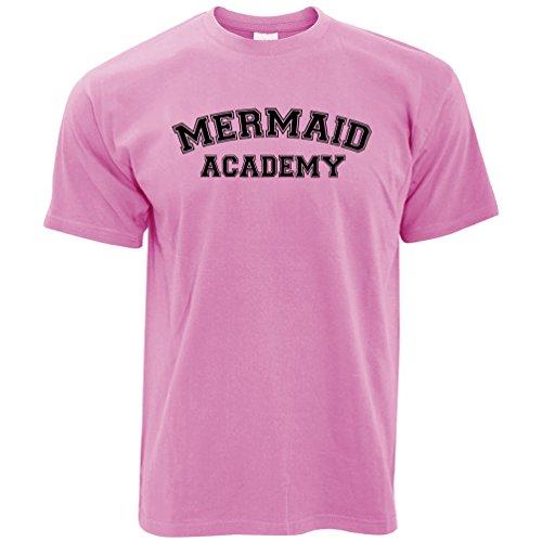 Fantasia t-shirt da uomo mermaid academy education learning libro di testo scuola pixel pink s