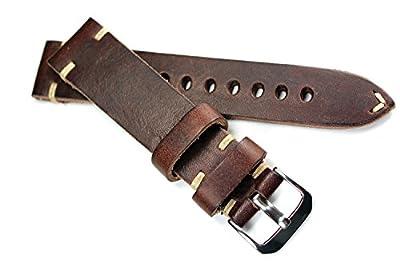 Correa de cuero RIOS de 20mm, con costuras blancas, estilo retro, color marrón oscuro, hecho a mano en Alemania