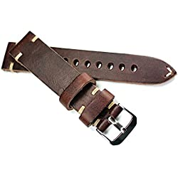 Rios Leather Band White Stitching 20mm Band Retro Quality Dark Brown Military Naval Strap Top Quality Cognac