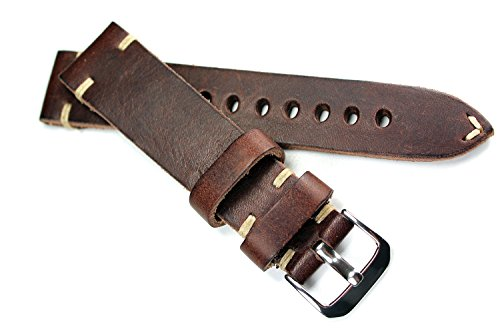 RIOS 1931 Herren Leder Deutsch Uhrenarmband Vintage 20mm dunkel Braun - Watch Aviator Damen