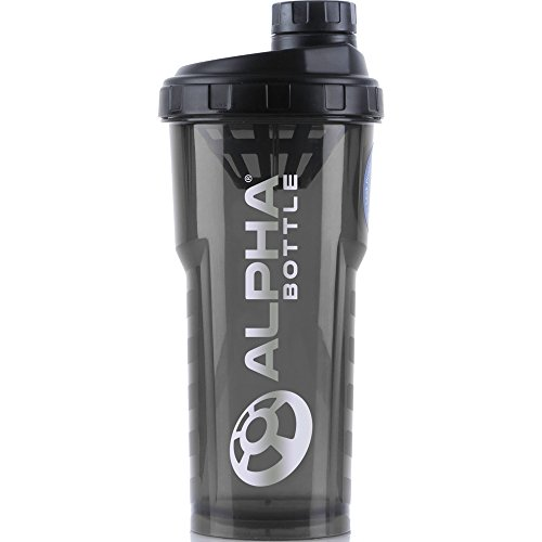 Alpha Bottle 750ml BPA and DEHP free Protein Shaker (black/smoke)