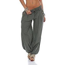 malito Bombacho clásico Design Boyfriend Aladin Harem Pantalón Sudadera Baggy Yoga 3417 Mujer Talla Única (oliva)
