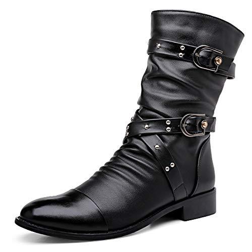 Männer Reiten militärische Kampf Leder Schwarze Armee Stiefel Outdoor Trekking Langen Boots Classic Rutschfeste Wasserdichte hohe Stiefelschuhe Schuhe,Black,38