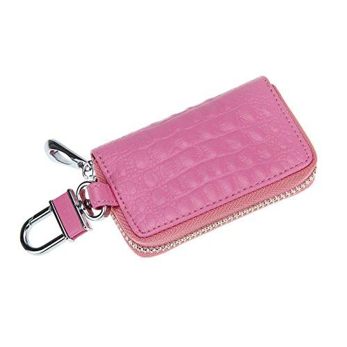 FakeFace Kroko Optik Autoschlüssel Etui Schlüsseltasche Schlüsselbörse Schlüsseletui Schlüsselanhänger Schlüsselmäppchen Tasche (Pink)