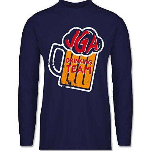 JGA Junggesellenabschied - JGA Drinking Crew Bierkrug - Longsleeve / langärmeliges T-Shirt für Herren Navy Blau