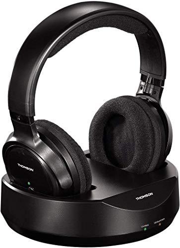 Thomson Funkkopfhörer WHP3001BK kabellos mit Ladestation (Over-Ear, PLL-System, Reichweite 100 m, 863 MHz, Wireless) schwarz