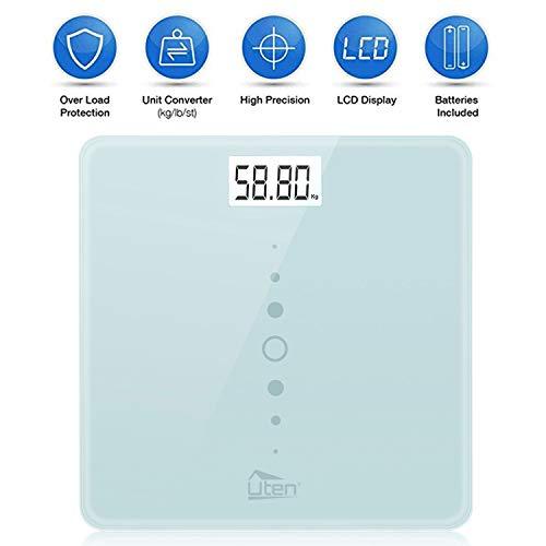Bilancia Elettronica fino a 200kg/440lb, Uten Bilancia Pesapersone Digitale con Display Retroilluminato, Vetro Temperato e Sistema Step-On - Blu