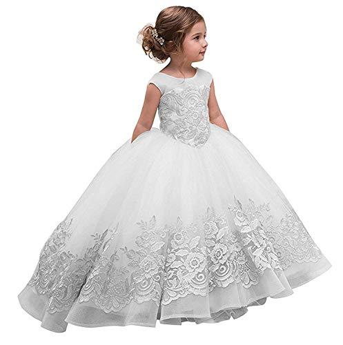 CLLA dress Mädchen Hochzeit Fest Blumenmädchenkleid Kinderkleid Mädchen Applikationen Kommunionkleid Prinzessin Kleid(Weiß,11-12 Jahre) (Kommunion Kleider Cinderella)