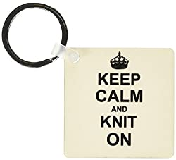3dRose Keep Calm and Knit on - carry on knitting - Knitter hobby gifts - black fun humor - Key Chains, 2.25 x 2.25 inches, set of 2 (kc_157736_1)