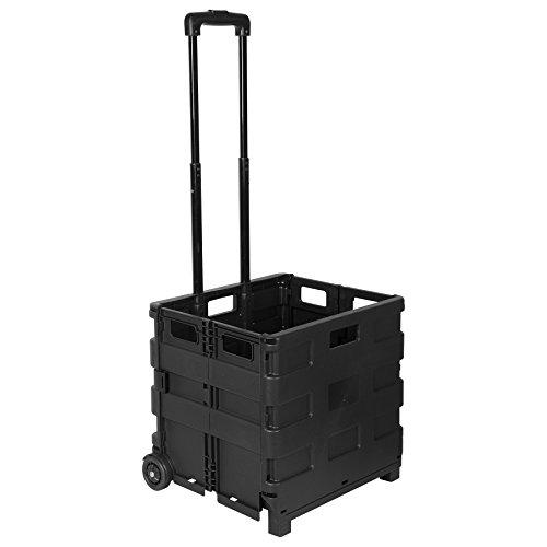 WOLTU EW4801sz Einkaufswagen 64L Einkaufstrolley Einkaufsroller Shopping Trolley klappbar bis 35kg 100x42x40,5cm Schwarz