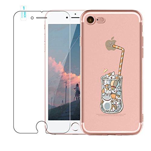 iPhone SE 55S Coque [avec film de protection d'écran en verre trempé], Blossom01Ultra mince souple en gel TPU Coque de protection en silicone avec motif de dessin animé pour iPhone SE 55S, citron,  Boisson