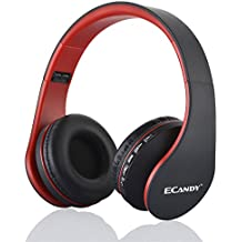Ecandy Bluetooth para auriculares estéreo V4.0 Música plegable Over-oreja sonido de alta fidelidad Calling construido en Mircophone manos libres, inalámbrico de conexión de cable, para Iphone 6S 6S, 6S Plus Samsung, Android Smartphone, tableta, PC, MAC y Laptop (4 en 1) (rojo)