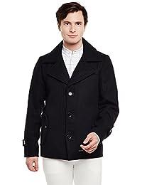 Bareskin Men's Black Trendy Woollen Coat