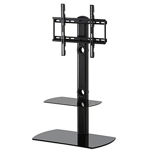 FITUEYES TV Bodenständer Fernseher Ständer Glas für 32 bis 50 Zoll LCD LED 35 Grad schwenkbar höhenverstellbar schwarz TT206501GB (Bottom Mount)