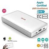 1000GB (1TB) Extern Festplatte für iPhone 11 Pro/6/7/8/X,XR Lghtning USB Stick iPad Pro und MacBook PC, External Hard Drive USB 3.0 Daten und Foto Datensicherung (APP Management)