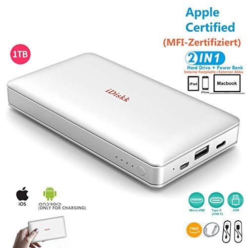 1000GB (1TB) Extern Festplatte für iPhone 11 Pro/6/7/8/X,XR Lightning USB Stick iPad Pro und MacBook PC, External Hard Drive USB 3.0 Daten und Foto Datensicherung (APP Management)