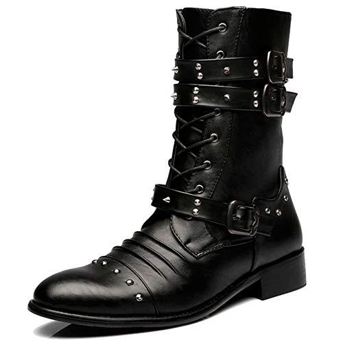 Mens Rivet Buckle Decoration Mid Calf Boot Cremallera Punk Rock Martin Boots Zapatos Resistentes A La Abrasión Work Utility Footwear,Black-41