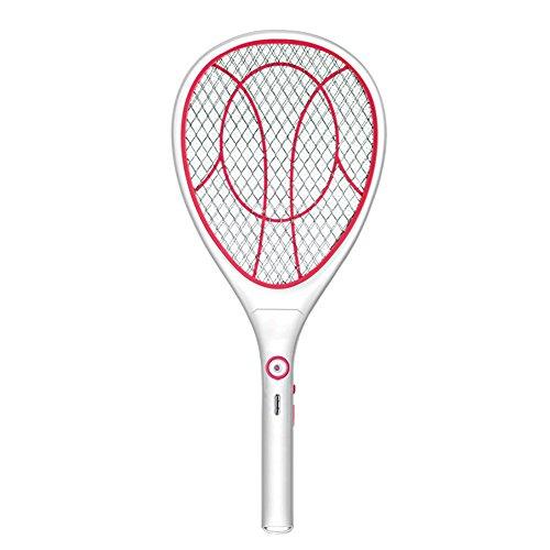 Soriace Elektrischer Fliegenfänger, reg; USB Wiederaufladbar Moskito Klatsche, 1000mA Handheld Fliegenklatsche und Insektenvernichter mit Attraktivem LED-Licht (B# Rosa)