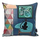 atopking 4 Stück Kissenbezug Creature Comforts Mid Century Interior mit schwarzen Katzendekor Kissenbezüge Dekokissenbezüge für Sofa und Couch 45x45 cm