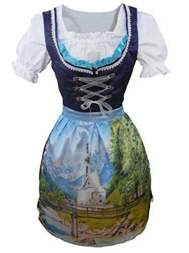 Preisvergleich Produktbild Di02 Midi Dirndl, 3 teiliges lila Trachtenkleid mit Bluse mit wunderschönem Landschaftsmotiv, Rocklänge 58-59 cm, Gr. 44