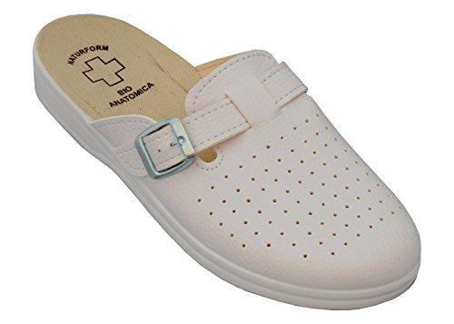 Relaxen Herren Arbeitsschuhe Medizinische Schuhe Pantoletten Komfort Hausschuhe Arbeit Leicht und Bequem Modell 2021 (42, Weiß) - Eine Medizinische Medizin