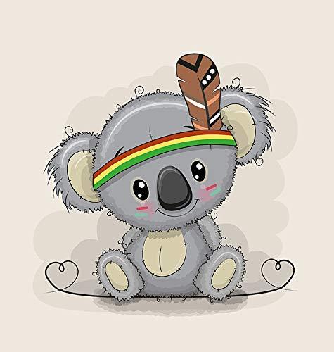 1 Sommersweat/French Terry Panel - medium, 40x50cm - Koalabär mit Indianerfeder und Herzen auf beige - Indianer Feder mit grau braun - Einzelmotiv - Ökotex - Medium Terry