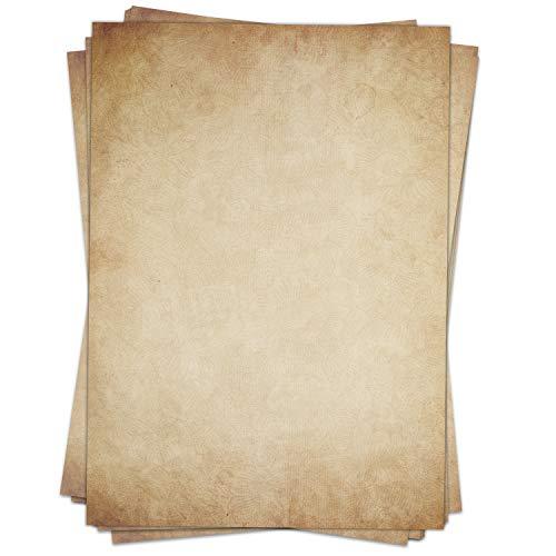 50 x Briefpapier Vintage DIN A4 - beidseitig Altes Papier/Edle Briefpapiere im Vintage Look im Set/Antik Retro Look