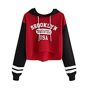 BaojunHT Ladies Long Sleeve Hoodie Crop Top Letter Sweatshirt Patchwork Pullover Blouse