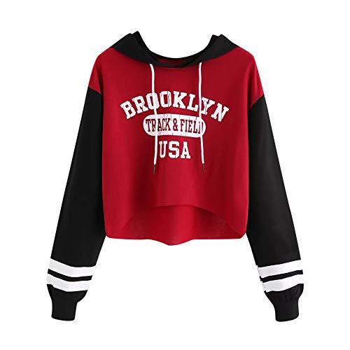 NINGSANJIN Vêtements de Baseball Dames Tour de Cou Sweat-Shirt Imprimé Manches Longues Chemise Capuche Veste Sport