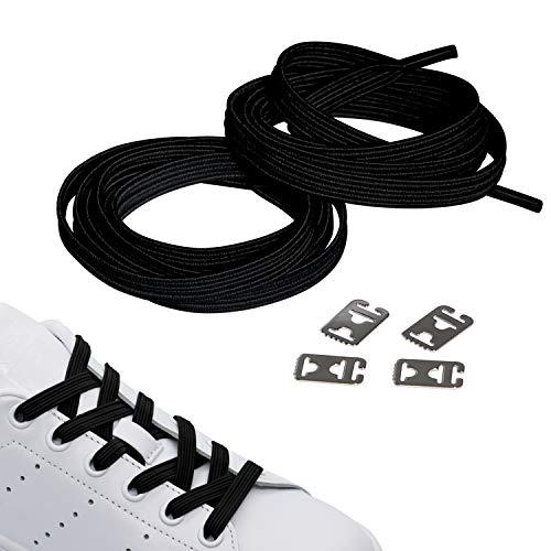 JANIRO Elastische Schnürsenkel mit Schnellverschluss | Flexible schleifenlose Schuhbänder ohne Binden | Hickies für Kinder & Erwachsene (schwarz)