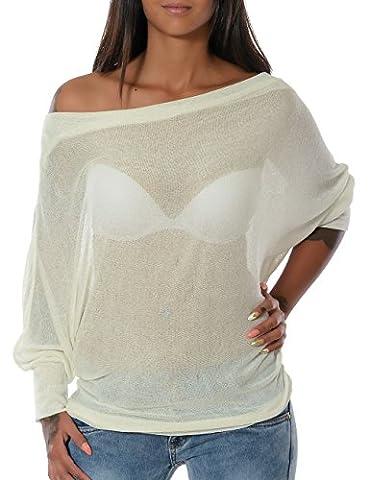 Damen Pullover Oberteil Bluse (weitere Farben) No 14105, Farbe:Weiß;Größe:One Size
