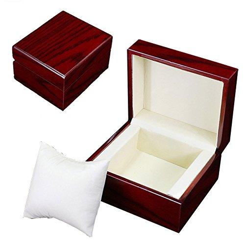 GossipBoy Premium Glossy Uhrenbox Holz / Armband Pillow Box Uhrenbox Herren Große Geburtstag Geschenk Uhrenbox Schwarz Party Geschenk (Uhr Und Armband-box)