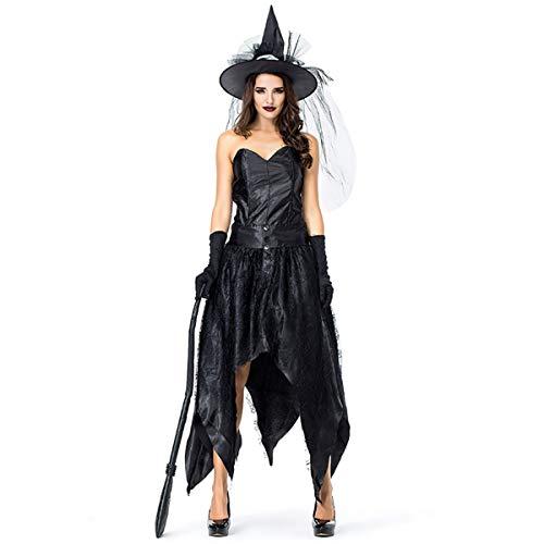 Kostüm Für Spider Web Kleid Erwachsene - W&TT Halloween Tube Top Spider Web Irreguläre Nun Hexe Schwarzes Kleid Mit Hut + Handschuhe,Black,L