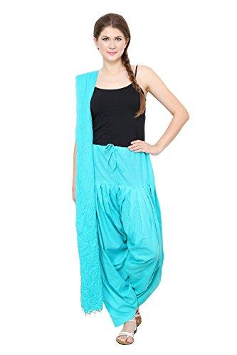 Pistaa Women Light Rama Full Cotton Patiala Pant and Dupatta