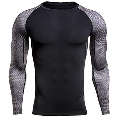 Likecrazy Fitness Shirt Herren Rashguard Kompressions trocknende Oberteile mit Lange Ärmel Mens Patchwork Sportshirt atmungsaktiv Mode Funktionshirt Herren Kompressionsshirt