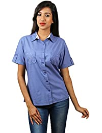 Old Khaki Solid Cotton Casual Partywear Shirt Women's Girls Shirt with Swaroski Stones on The Double Pockets in Blue Color with Contrast & Free Shipping
