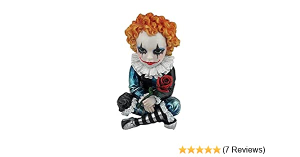 4.75 Inch Poly Stone Cosplay Kids Jester Holding A Rose Figurine US WU76045AA