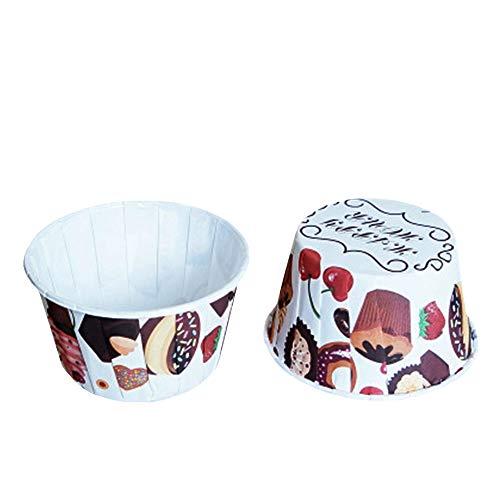 Beiersi Cupcake Formen Papier Fällen Liner Muffin Förmchen Papier Hohe Temperaturbeständige Backen Tassen Für Weihnachten Halloween Hochzeit Party Dekoration 50 Stück Cupcake Wrappers (Weißer Stil 1)