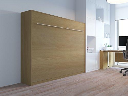 Schrankbett 140cm Horizontal Buche SMARTBett mit Tonnentaschenmatratze 140×200 cm, ideal als Gästebett – Wandbett, Schrank mit integriertem Klappbett, Sideboard - 2
