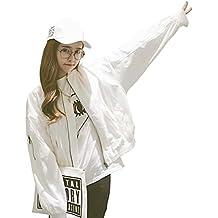 Babysbreath Mujeres chaqueta básica corto suelto mangas largas BF abrigo de béisbol casual otoño femenino capas Blanco