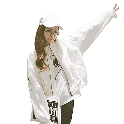 Masterein Veste de base pour femmes dautomne Veste courte Habits de baseball en vrac Manteaux féminins décontractés Blanc