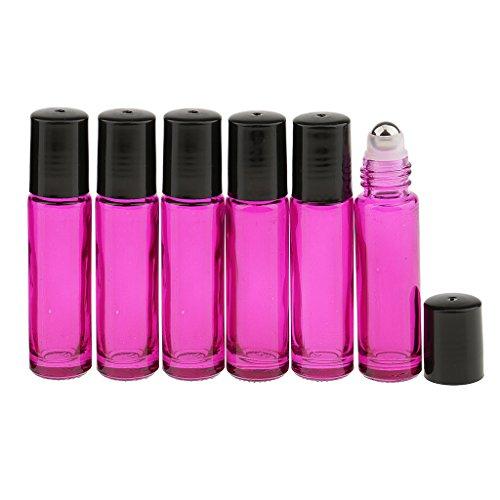 MagiDeal 6 Pièces 10ml Bouteilles Roll On de Verre Vide pour Parfum Essentiel - Rose rouge