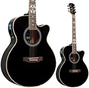 Lindo LDG-BF Black Fire - Guitarra electroacústica (con preamplificador y afinador digital, salida XLR, conect