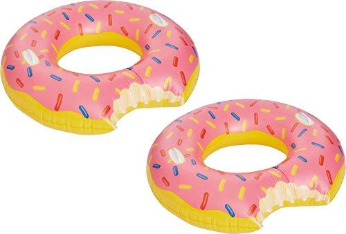 Happy People Donat Schwimmring Pink mit Bunten Streuseln und Haltegriffen (2 Stück, Donat)