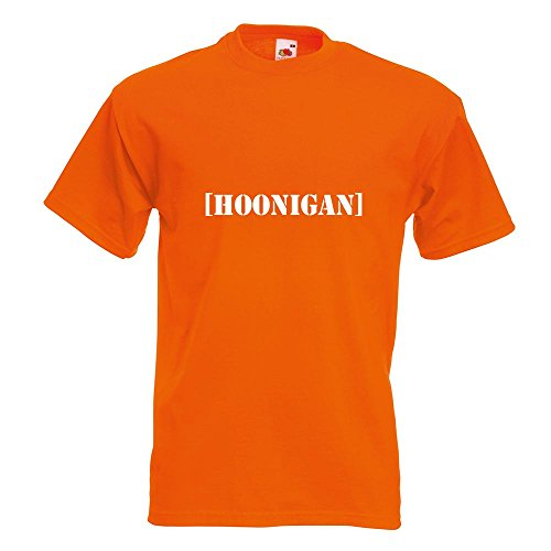KIWISTAR - Hoonigan T-Shirt in 15 verschiedenen Farben - Herren Funshirt bedruckt Design Sprüche Spruch Motive Oberteil Baumwolle Print Größe S M L XL XXL Orange