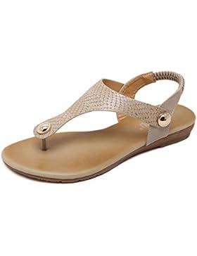 ZOEREA Damen Sandalen Flach Sommerschuhe T-Spange Mädchen Zehentrenner Glattleder