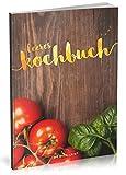 Dékokind Leeres Kochbuch: Für über 80 Lieblingsrezepte || Ca. A5 Softcover || Rezeptbuch zum Selbstgestalten / Selberschreiben mit Inhaltsverzeichnis || Motiv: Rote Tomaten