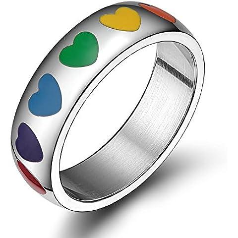 LianDuo Gay gioielli LGBT Lesbiche cuore dell'acciaio inossidabile arcobaleno Orgoglio aggancio di cerimonia nuziale l'anello di barretta,6mm