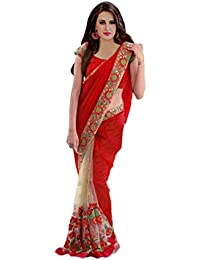 Alka Women's Georgette And Net Embroidery Saree (Free Size)